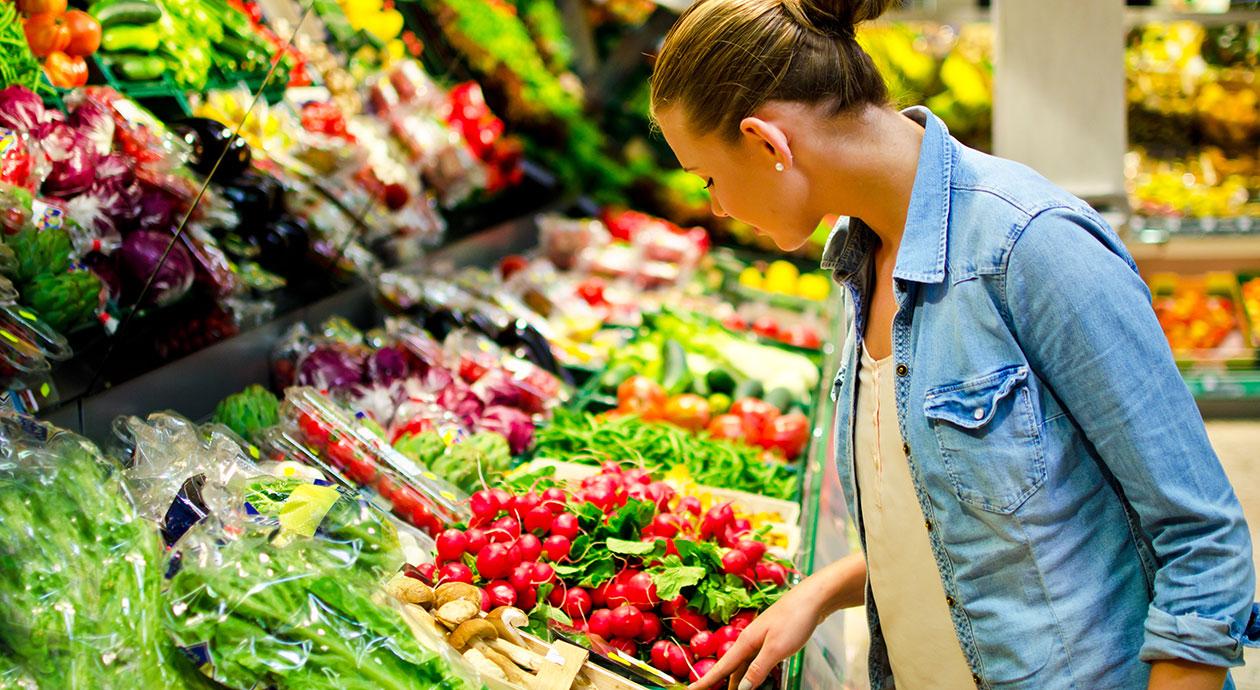 Groente en fruit in de supermarkt