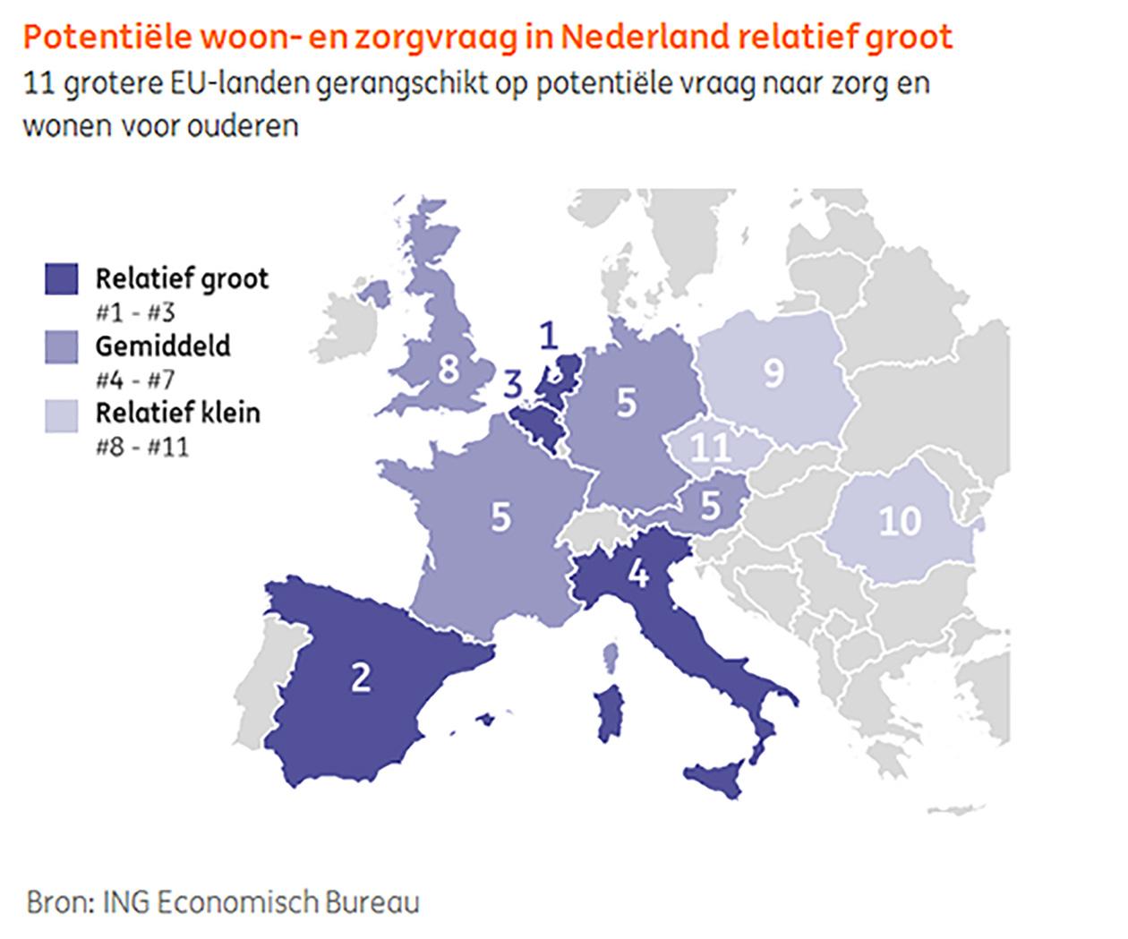 Potentiële woon- en zorgaanvraag in Nederland relatief groot
