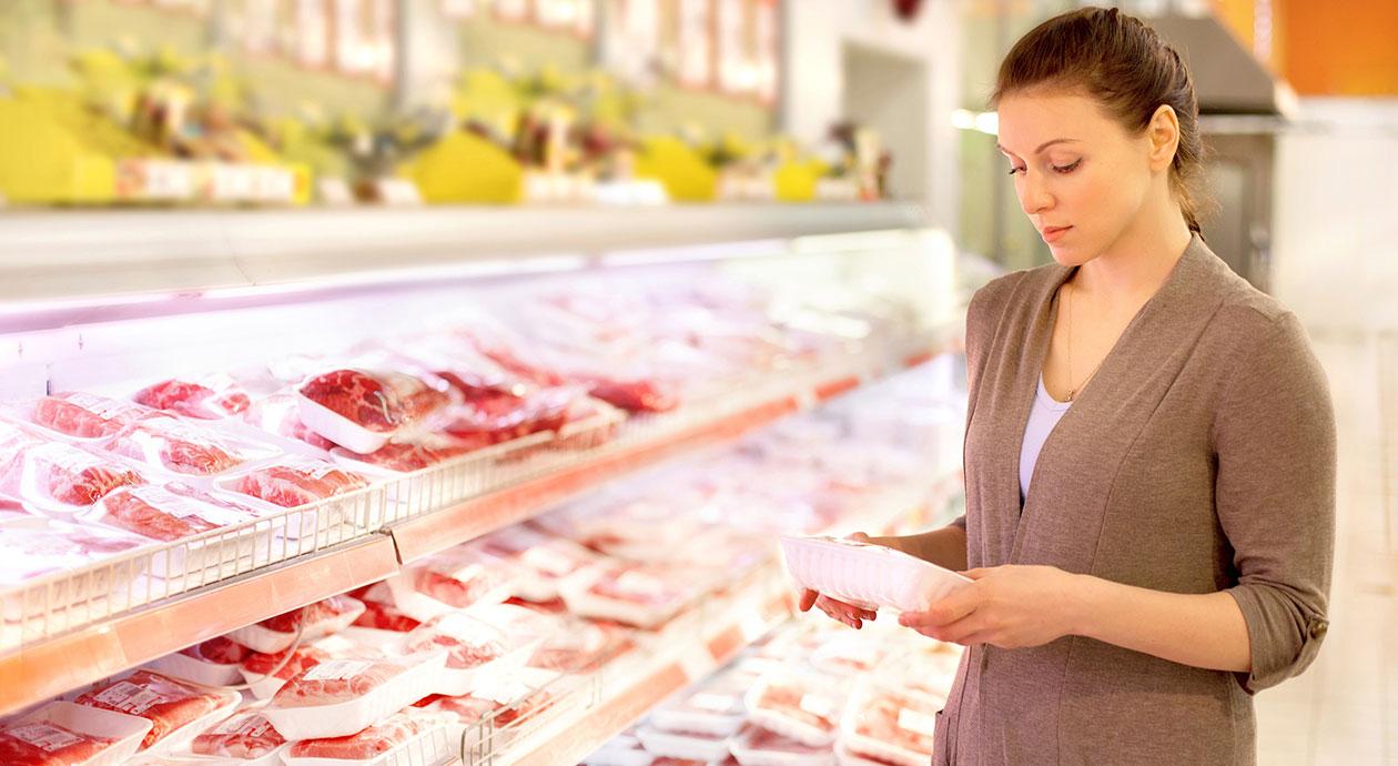 Vlees in de supermarkt