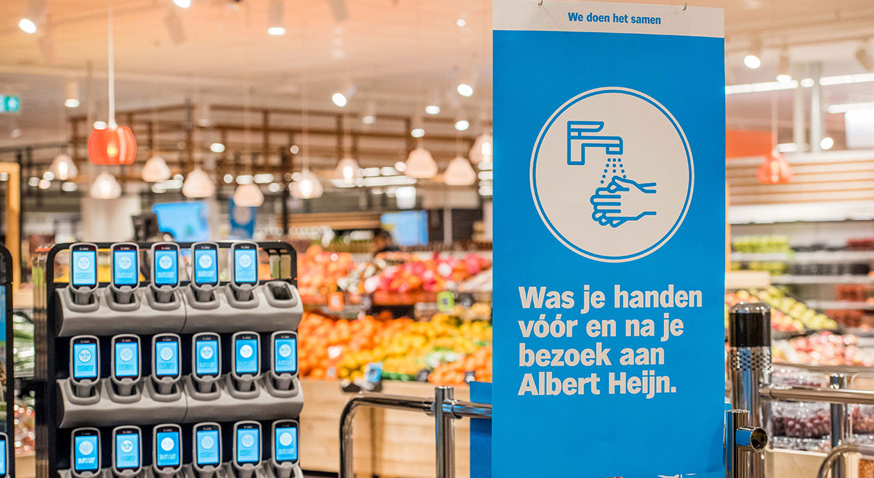 Coronamaatregelen in de supermarkt